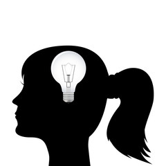 silhouette of a woman's head with a light bulb