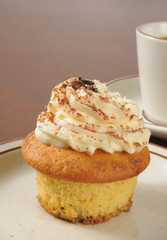 Tiramisu cupcake and coffee