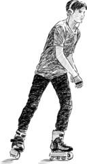 teen on roller skate