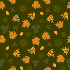 Seamless pattern with leaves and silhouettes