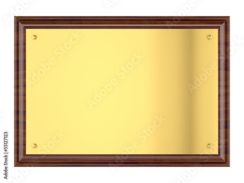 Wood plaque with Gold plate.