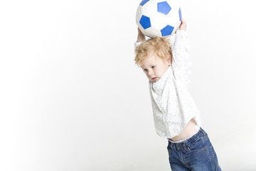 Toddler with soccer ball