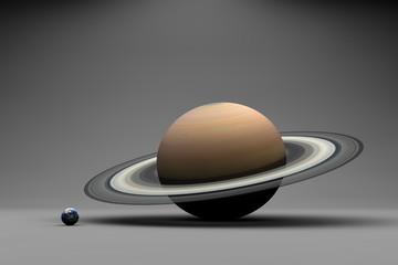 Die Planeten Erde und Saturn im Größenvergleich
