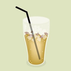 Lemon Iced Tea With Straw on Green Background