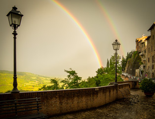 A Double Rainbow over Lampost in Umbria, Italy