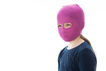 Girl in gangster mask