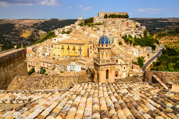View of beautiful village Ragusa in Sicily
