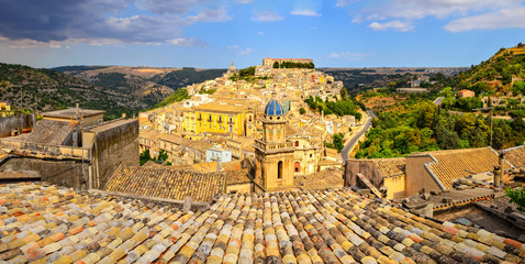 Panoramic view of beautiful village Ragusa in Sicily