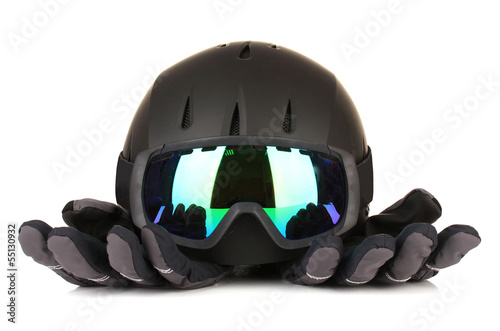 Winter sport glasses, helmet and gloves, isolated on white