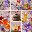 Spa Collage mit pflegenden Essenzen und Wildblüten