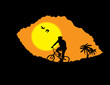 Mountain bike bicycle rider in wild mountain