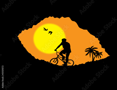 Mountain bike bicycle rider in wild mountain