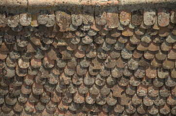 top of an old terracotta's roof in Viscri, Transylvania