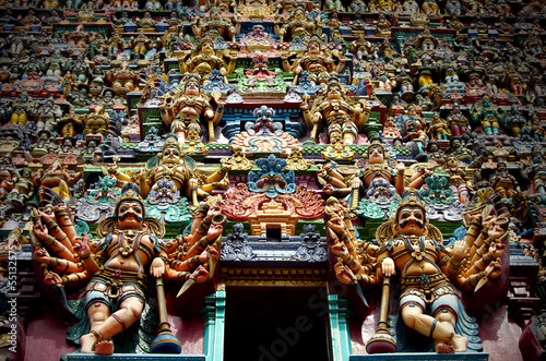 Indian gods and demons on a temple