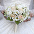 beauty wedding bouquet of yellow, cream roses