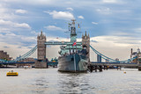 HMS Belfast in front of the Tower Bridge