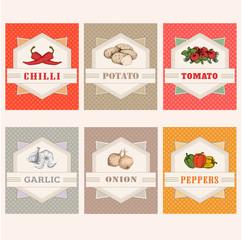 vegetables labels, garlic, tomato, potato, onion, chilly, pepper
