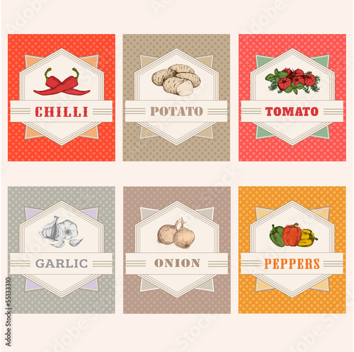 vegetables labels, garlic, tomato, potato, onion, chilly, pepper