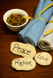 peace, love and relax words and spa products