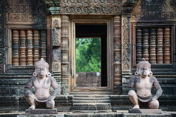 The Statues guard of Banteay Srei temple