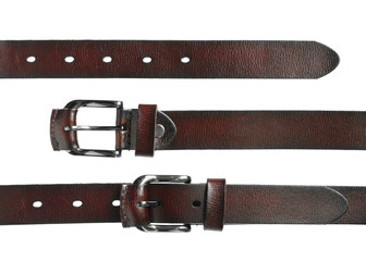 Leather belt for men isolated on white background