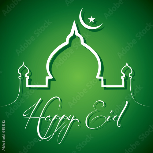 Creative calligraphy of text happy eid - vector illustration