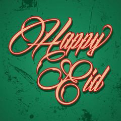 Retro calligraphy of text happy eid - vector illustration