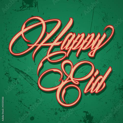 Retro calligraphy of text happy eid - vector illustration