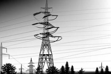 grey illustration with pylons and trees