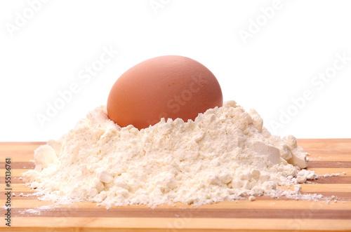 Baking ingredients on white background