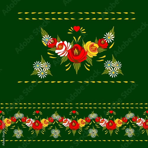Folk Art.Seamless traditional floral border .