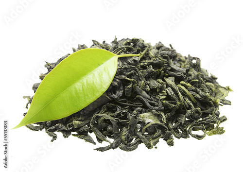 Green tea with leaf isolated on white background