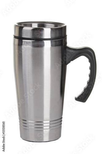 Leinwanddruck Bild Shiny black Metal travel thermo-cup