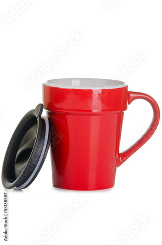 red ceramic cup with lid isolated
