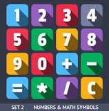 Numbers Vector Icons With Long Shadow Set 1