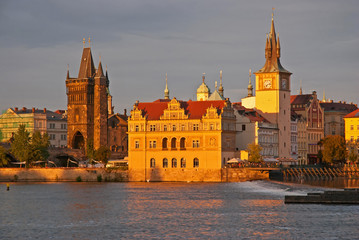 Sunset view of the Prague