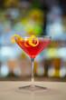 Cosmopolitan cocktail on a bar