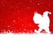 Karte rot Weihnachtsmann mit Kugel