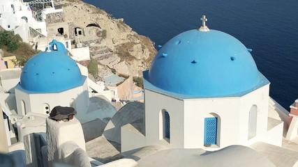 Classic Santorini architecture, pan shot