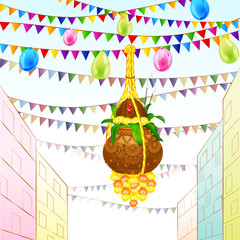 illustration of Happy Janmashtami with hanging dahi handi