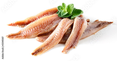 Papiers peints Poisson anchovy with herbs