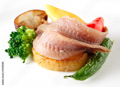 anchovies fillet with vegetables