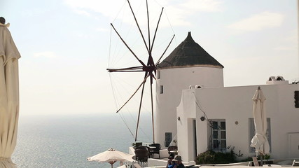 Classic Santorini windmill