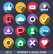 Internet and Social Vector Icons With Long Shadow Set 6