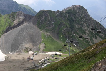 Cableway in the mountain in Sochi - winter Olympic games 2014