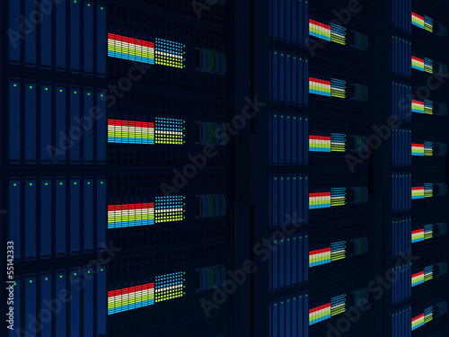 Modern Computer Servers Close up background