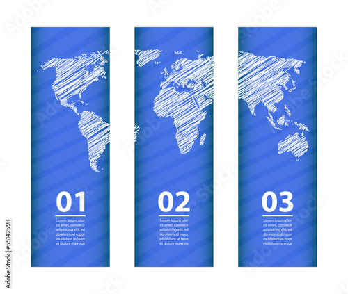 blue banner with special white sketch map design