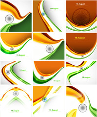 Stylish tricolor indian flags collection colorful presentation d