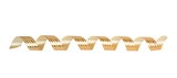 Gold paper horizontal ribbon on the white isolated background