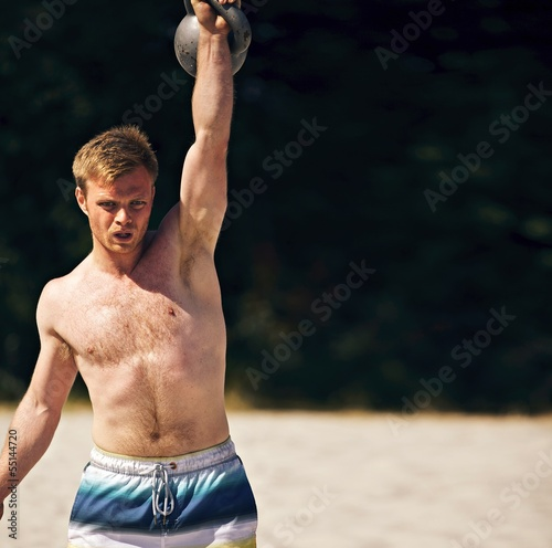 Guy Lifting Heavy Kettlebell